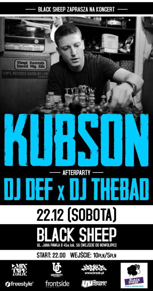 Koncert KUBSONA + afterparty z DJ DEF x DJ THEBAD