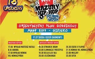 Line-up godzinowy 18-tej edycji Mazury Hip Hop Festiwal 2019